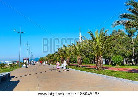 Batumi, Georgia - April 30, 2017: Park with palm trees near promenade boulevard of Batumi, Georgia and high modern houses
