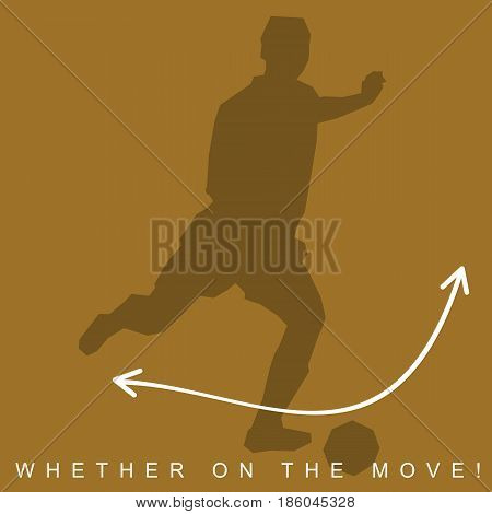 Vector illustration of silhouette of football player and sneakers. Sports shoes and player in european football, soccer. Advertisements, brochures. Isolated on a white background