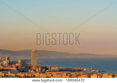 Barcelona coast overlook at sunset, Catalonia, Spain
