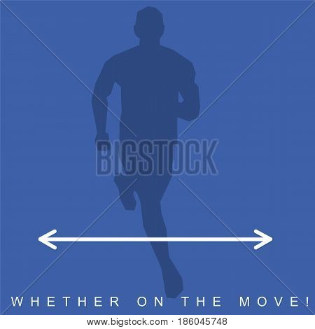 Vector illustration of silhouette of an athlete and sneakers. Sports shoes and runner. Advertisements, brochures, business templates. Isolated on a white background