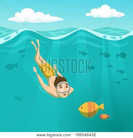 Man swims underwater. Summer leisure. Holidays and travel in to the sea. Boy is snorkeling. Swimmer is diving and looking at the fish. Sport and activity cartoon illustration