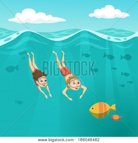 Children swims underwater. Summer leisure. Holidays and travel in to the sea. Boyand girl are snorkeling. Kids are diving and looking at the fish. Sport and activity cartoon illustration