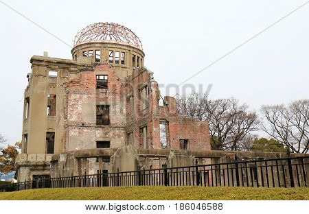 Genbaku dome in Hiroshima Japan. Genbaku dome also know as Hiroshima Peace memorial is an UNESCO world heritage site.