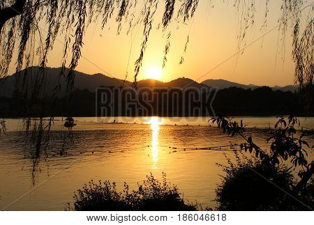 West Lake, China, in the evening, the golden sunset, vegetation silhouette, especially beautiful.