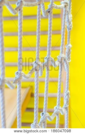 Network Of Ropes In Indoor Children's Playground