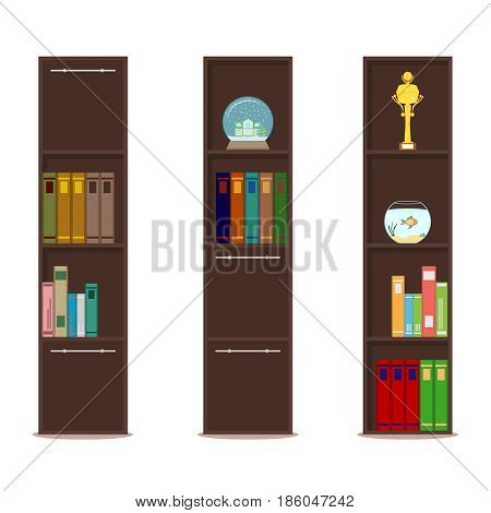 Bookcase closet with shelves and books. Flat design vector illustration vector.