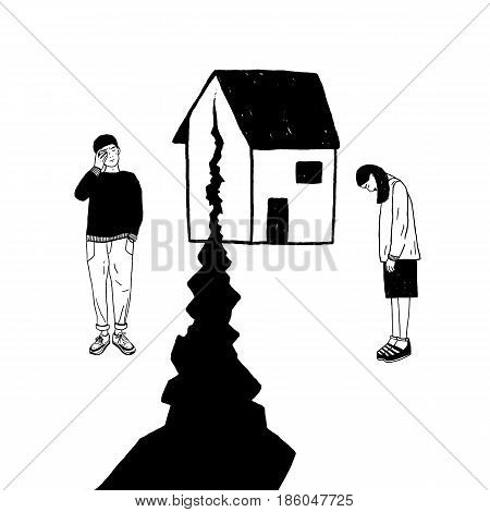 Concept of divorce, crack in relationships, family split. Sad girl and guy after parting. Vector black and white hand drawn illustration