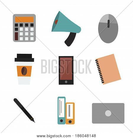 Office life concept bullhorn report calculator notebook school education information notepad schedule plan vector illustration. Document personal office supplies.