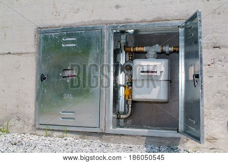 Natural gas meter cabinet with gauge counter for distribution domestic gas