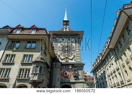 Zytglogge in Bern Switzerland. The Zytglogge is the landmark medieval clock tower in the Old City of Bern.