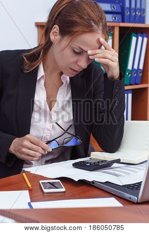 Business Concept: Attractive Woman Working In The Office
