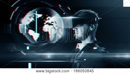 cyberspace, augmented reality, technology and people - man in virtual headset or 3d glasses looking at earth globe projection over glitch effect