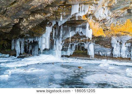 View of ice cave in Lake Baikal Russia in winter