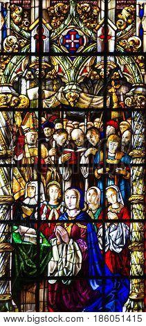 Lisbon, Portugal - May 11, 2017: Vitrage window. Interior of church in Monastery of Jeronimos, Lisbon, Portugal