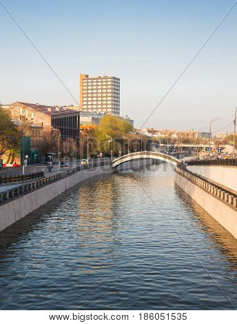 Moscow, Russia, view from central avenue of the Yauza River