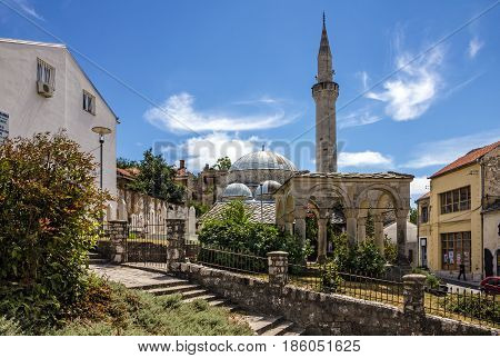 MOSTAR, BOSNIA - AUG 23 2016: Mostar mosque in old town