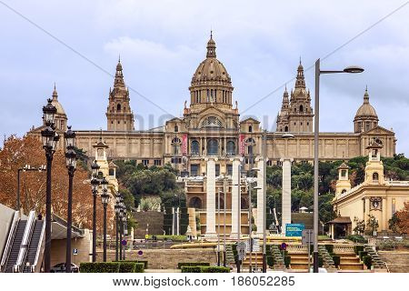 Barcelona, Spain 0 May 7, 2017: National museum of Catalonia (MNAC) Spain. Placa De Espanya