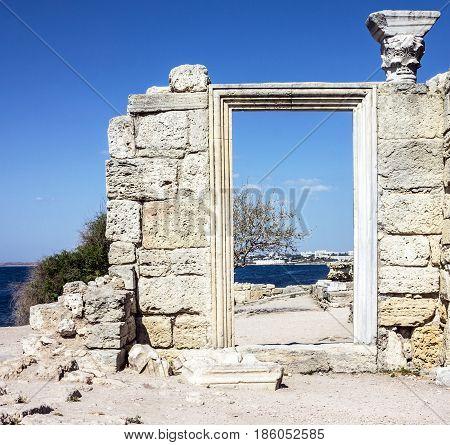Ruins of ancient Greek basilica Chersonesus, Crimea
