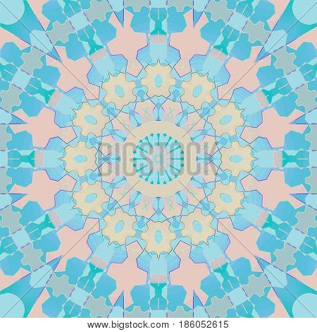 Abstract geometric background. Regular round ornament turquoise, pink, pastel orange, and light blue, centered and dreamy.