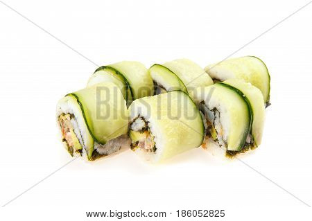 Set Of Habomai-rolls With Tuna, Shrimp, Avocado, Ginger Sauce, Cucumber, Nori