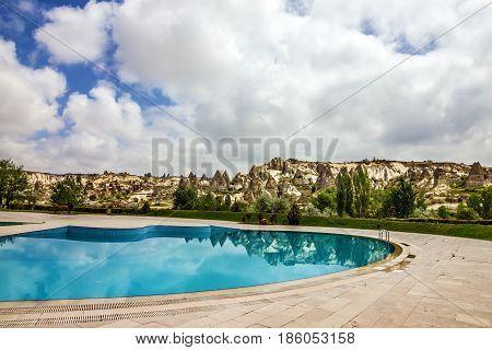Open swimming pool, Goreme, Cappadocia park, Turkey,