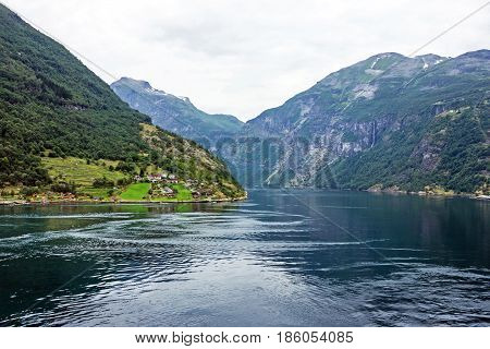 Norway - fjord mountain seaside view, Geiranger