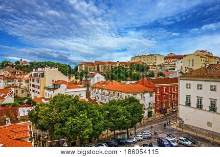 Lisbon city architectural houses view, Portugal town