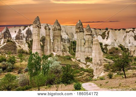 Volcanic rocks Cappadocia, Anatolia, Turkey. Goreme national park.