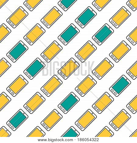 Vector seamless pattern of phones with yellow and blue screens on white background