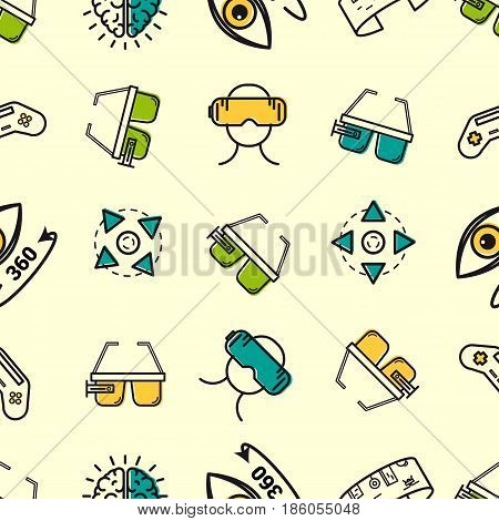 Vector seamless pattern with colored VR elements on background