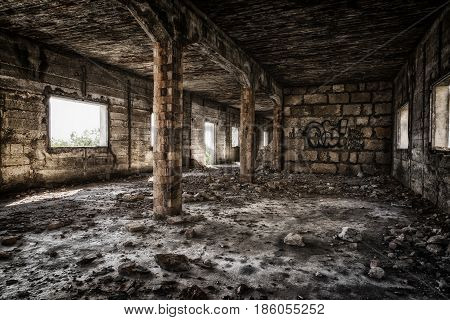 Old factory building lost place dark style