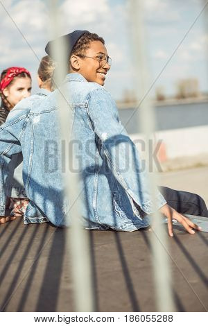 teenagers spending time at skateboard park teenagers having fun concept