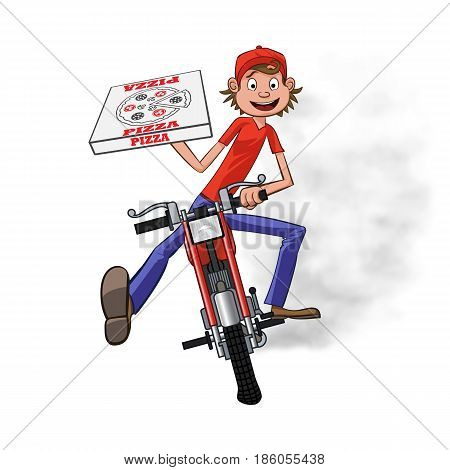 Boy working the pizza delivery. Riding on red motorbike for carries rush order. Fast delivery concept. Front view cartoon style. Vector illustration.