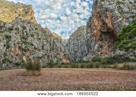 The ravine of torrent de Pareis on Mallorca