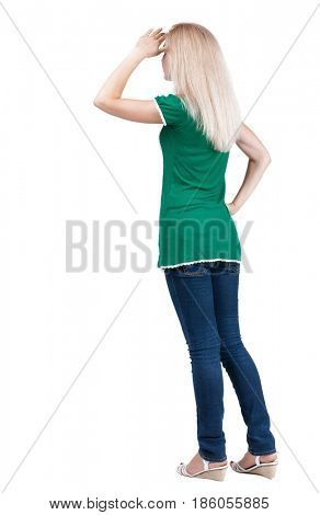 back view of standing young blonde woman. girl  closes her eyes. Rear view people collection.  backside view of person.  Isolated over white background.