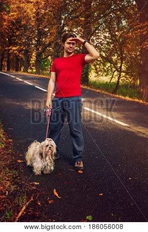 Young man tourist walking with dog on road. Warm sunset colors.