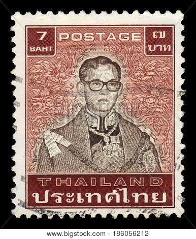 Thailand - CIRCA 1983: A stamp printed in Thailand shows King Bhumibol Adulyadej, King of Thailand ( King Rama IX ), circa 1983