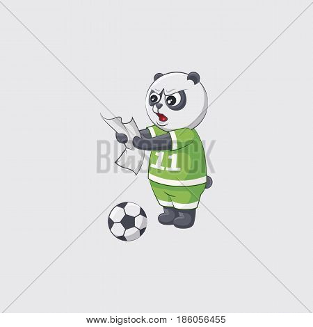 Stock vector illustration sticker emoji emoticon emotion isolated illustration character kicker panda angry thinks strategy plan football player goalkeeper forward defender gray background mobile app