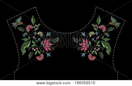 Satin stitch embroidery design with flowers and birds. Folk line floral trendy pattern for dress neckline. Ethnic fashion ornament for neck on black background