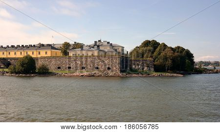 View of Suomenlinna, historical defence fortress and the UNESCO site of Helsinki