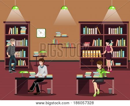 Library interior with people, reading books. Library vector flat illustration