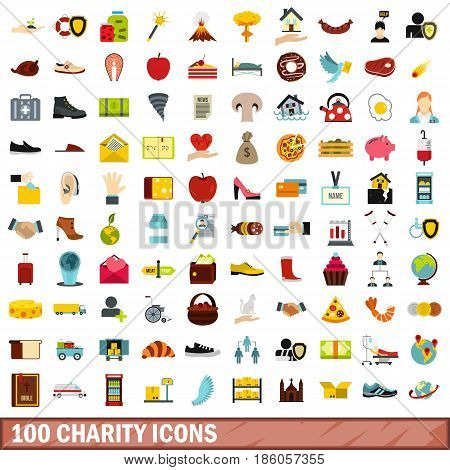 100 charity icons set in flat style for any design vector illustration
