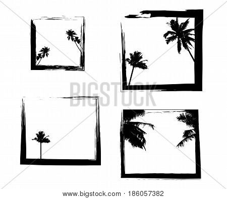 Square frames in grunge style with palm trees. Beautiful tropical beach silhouette of trees on ocean beach.vector illustrations for social media, posters, email, print, ads designs, promotional material