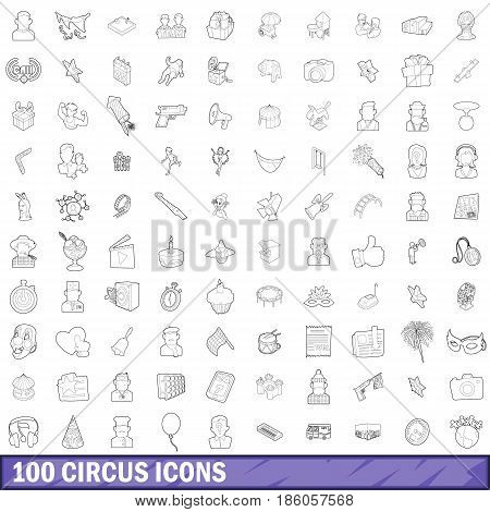 100 circus icons set in outline style for any design vector illustration