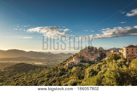 Village Of Belgodere In Corsica Lit By Late Afternoon Sun
