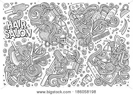 Vector hand drawn doodle cartoon set of Hair salon theme items, objects and symbols
