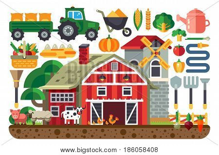 Stock vector illustration set of icons for farm business, house, tractor, tools, artiodactyls, cloven-hoofed domestic animals, crib, barn, chicken, pig, cow, sheep, mill flat style on white background