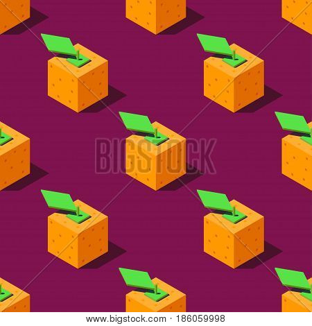 Seamless pattern of cubic oranges on violet background. Retro design concept, Clipping mask used.