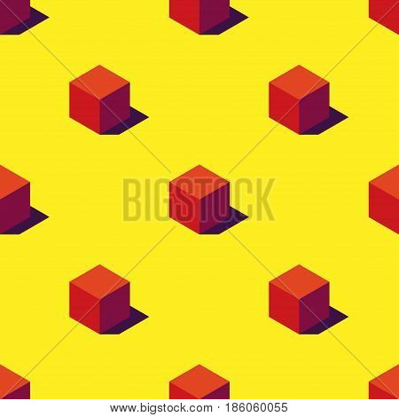 Seamless pattern of orange cubes on yellow background. Retro design concept. Clipping mask used!