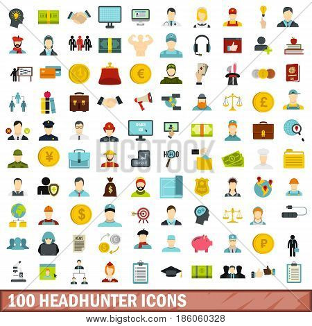 100 headhunter icons set in flat style for any design vector illustration